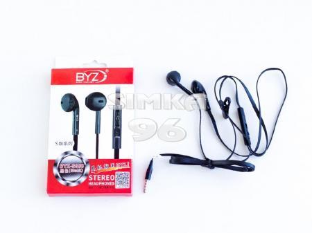 Наушники вкладыши с микрофоном  BYZ- 366  (i9100)  с регулятором громкости