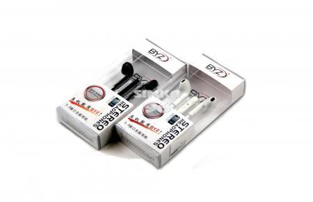 Наушники вкладыши с микрофоном  BYZ- 389  (Samsung, Nokia, iPhone)  с регулятором громкости