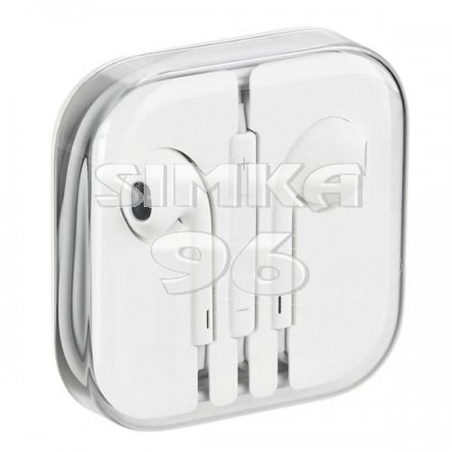 Наушники вкладыши с микрофоном  iP (белые)  с регулятором громкости