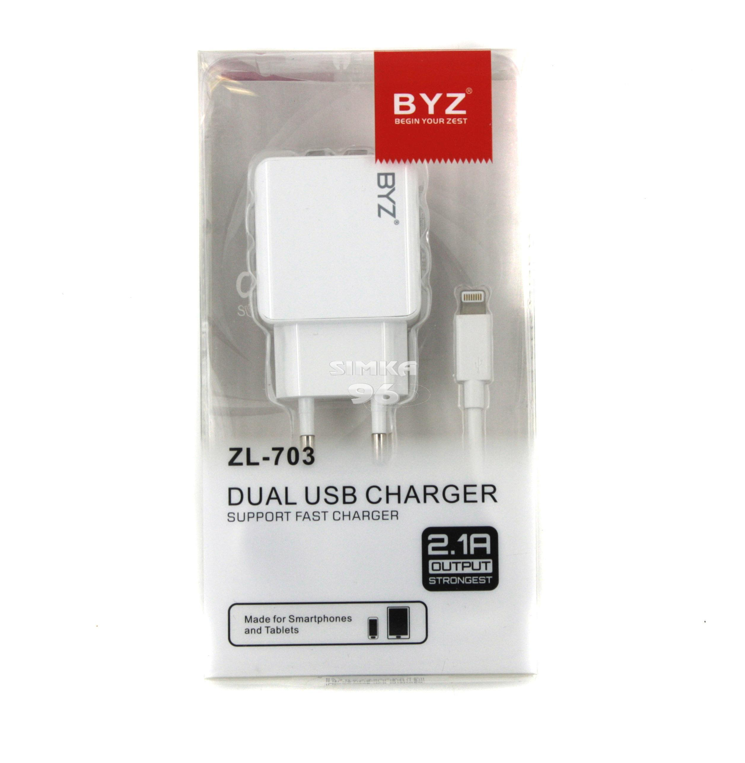 СЗУ 2 в 1 BYZ  ZL-703 iPhone 5  2.1А
