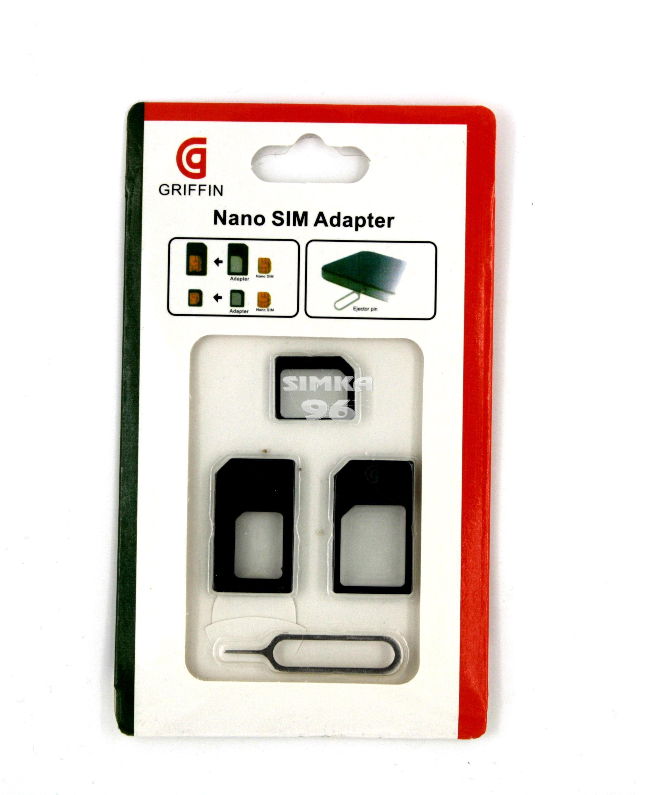 Комплект адаптеров GRIF и скрепка для SIM(MicroSim,NanoSim)