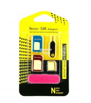 Комплект адаптеров металлические+скрепка+пилочка для SIM(MicroSim,NanoSim)