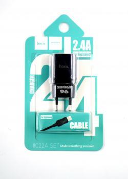 СЗУ 2 в 1 hoco C22A Lightning 2.4А