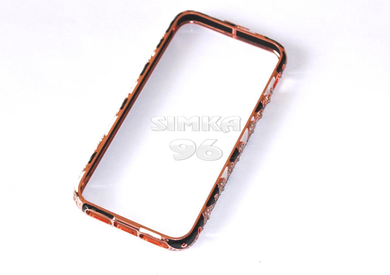 Бампер для iPhone 6+ металл, стразы