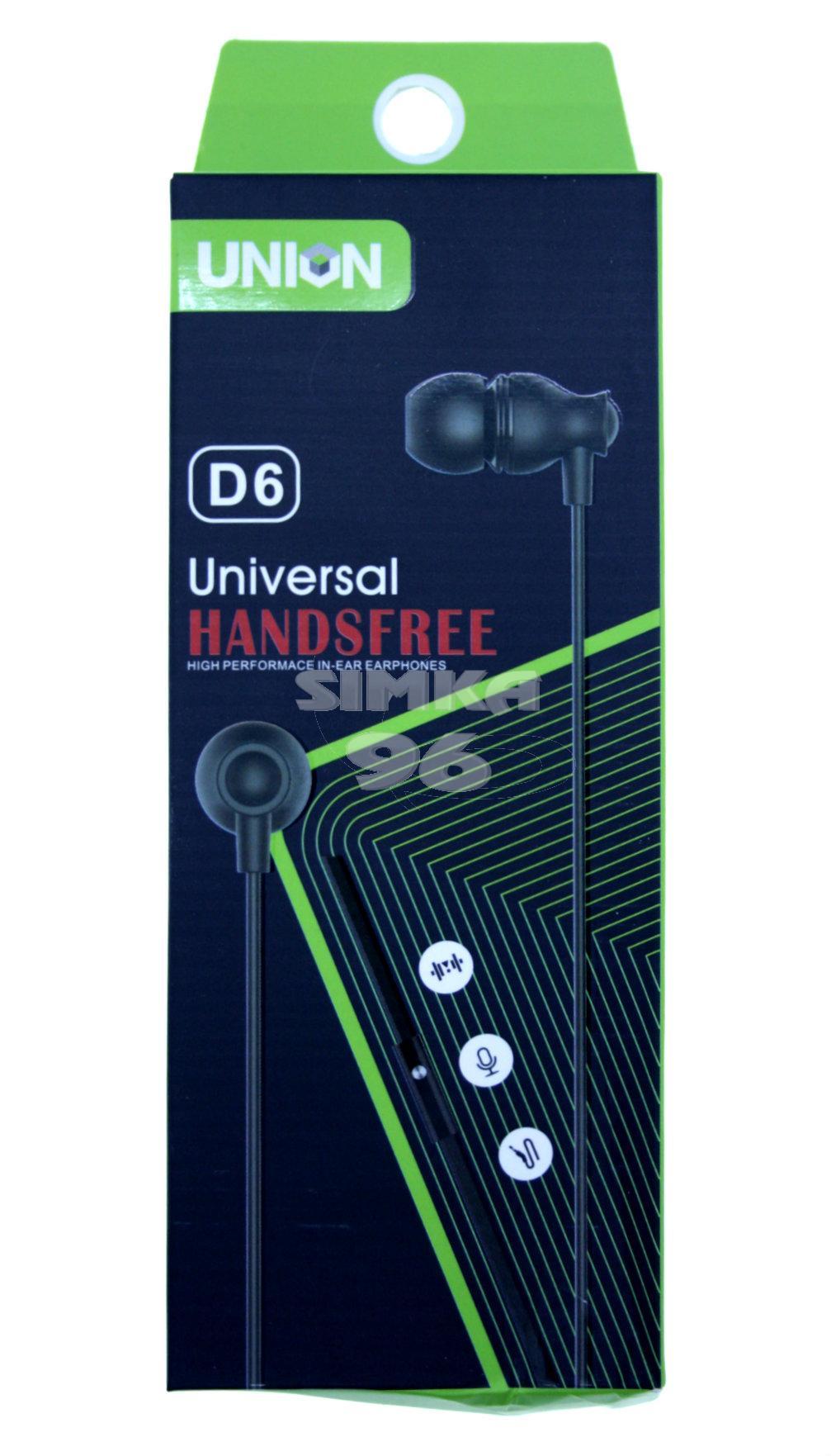 Наушники Union D-6 вакуумные с микрофоном