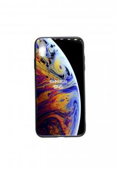 Чехол задник для iPhone ХS Max стеклянный (космос)
