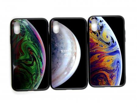 Чехол задник для iPhone ХSстеклянный (космос)