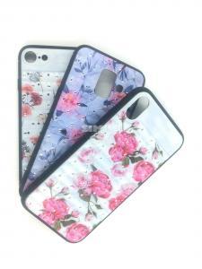 Чехол задник для iPhone 7 силикон цветы+стразы