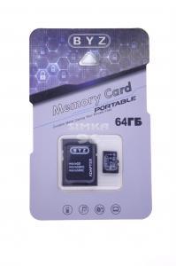 MicroSD BYZ 64Gb 10 class  с картридером