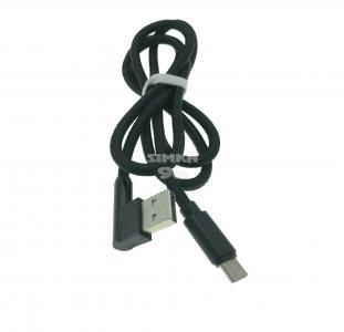 Кабель Type-C (ткань) Г-образный USB 1.0м