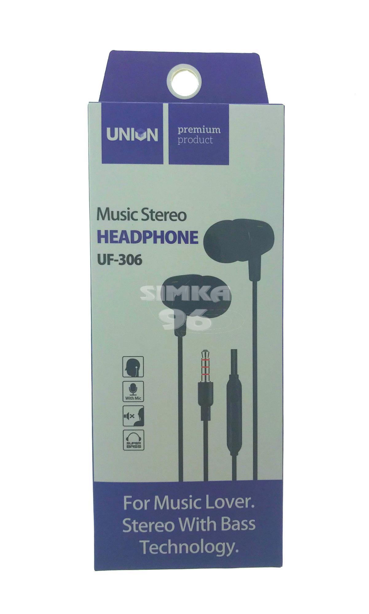Наушники Union UF-306 вакуумные с микрофоном
