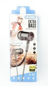 Наушники вакуумные с микрофоном  Extra  Bass L87